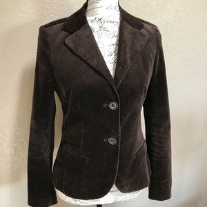 Vintage Velvet Chocolate Brown Blazer Jacket Small